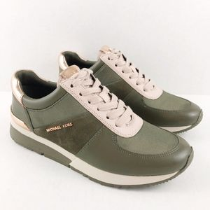 Michael Kors Allie Leather/Canvas Sneaker Olive